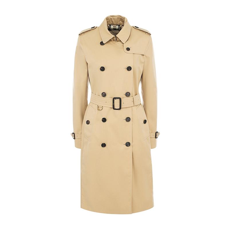 Burberry巴宝莉女装 女士卡其色棉质双排扣长款风衣外套 4006905