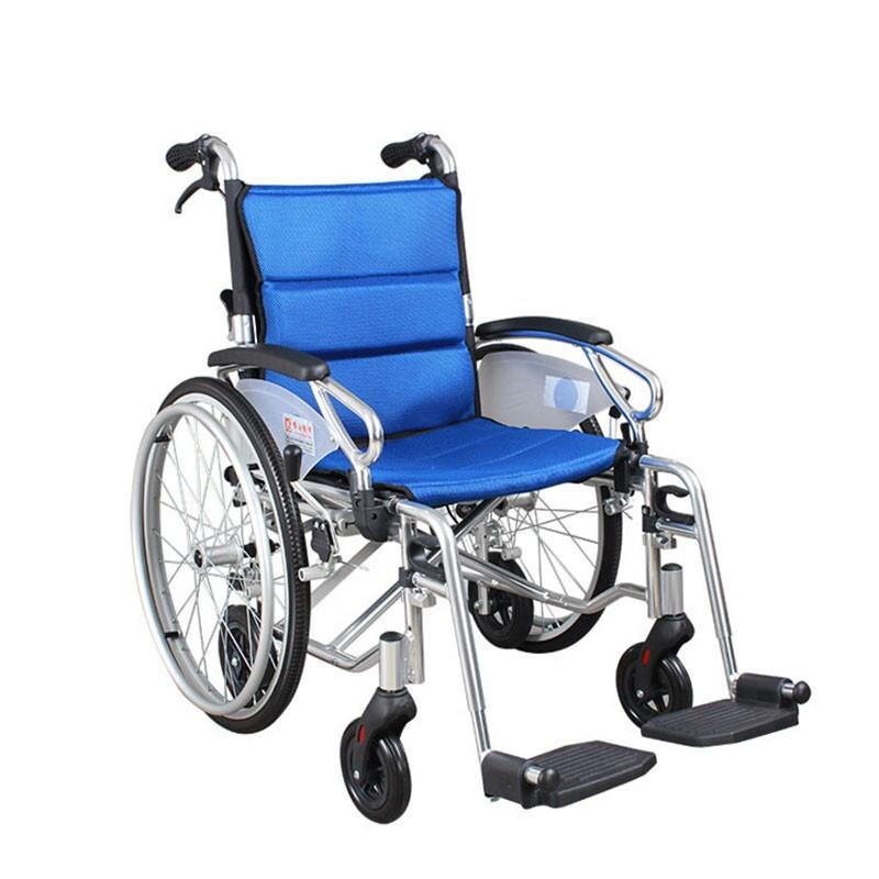 AUFU 佛山东方老人轮椅车铝合金手推轮椅 后轮可拆扶手可拆多功能残疾人轮椅22寸 FS903LAJPF9
