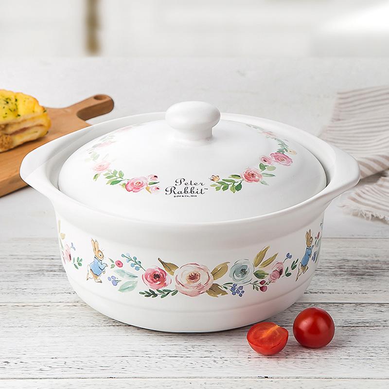 比得兔砂鍋耐高溫湯鍋陶瓷燉鍋煲湯明火燃氣2.1L大容量煲湯鍋家用PR-T1144 白色