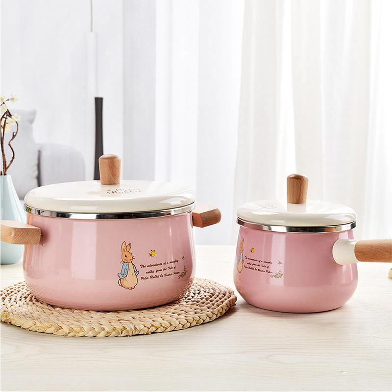 比得兔珐琅瓷双耳炖汤锅搪瓷锅 套装锅 PR-T747 粉色
